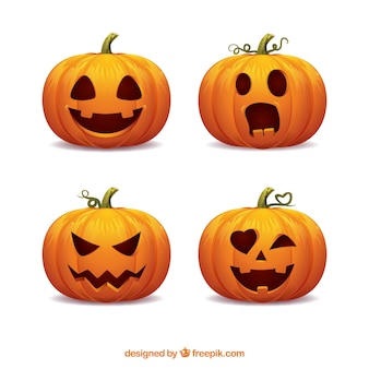 Verpakking van vier halloween pompoenen met grappige gezichten