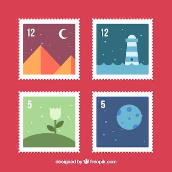 Verpakking van vier postzegels met landschappen in plat ontwerp