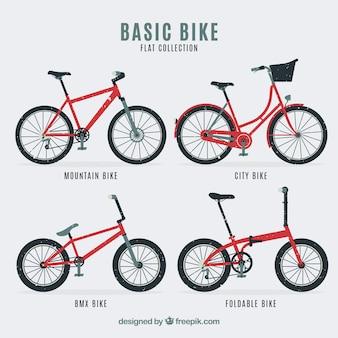 Verpakking van vier typen retro fietsen