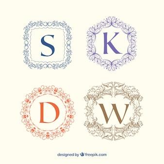 Verpakking van vintage bloemrijke monogrammen
