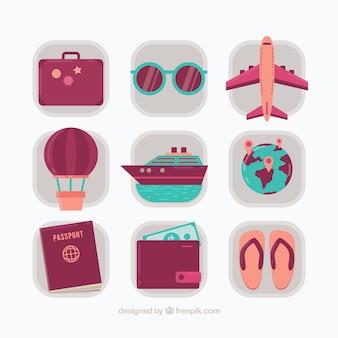 Verpakking van vintage zomer reiselementen in plat ontwerp