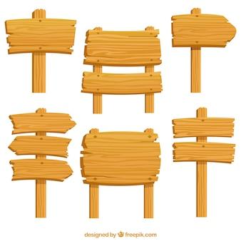 Verpakking van zes houten borden