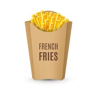 Verpakkingen voor frieten op wit wordt geïsoleerd
