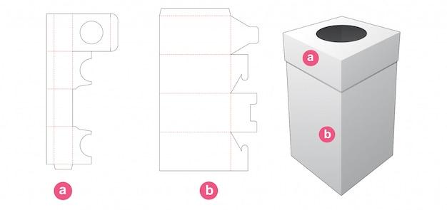 Verpakkingsdoos en deksel met rond raam gestanst sjabloon Premium Vector
