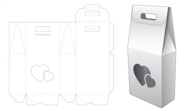 Verpakkingsdoos met 2 flessen en hartvenster met gestanste houder