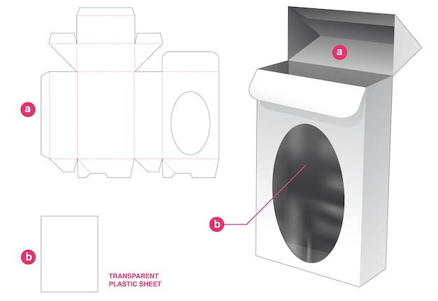 Verpakkingsdoos met automatisch vergrendeld punt en ellipsvormig venster met gestanste sjabloon van transparant plastic vel
