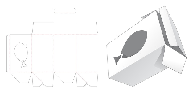 Verpakkingsdoos met gestanst sjabloon in de vorm van een visvenster
