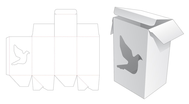 Verpakkingsdoos met gestanste sjabloon in de vorm van een vogelvenster