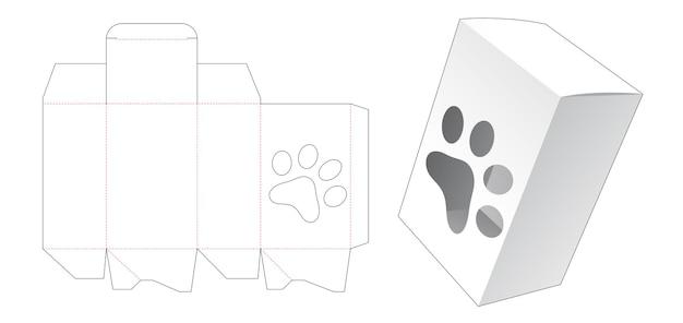 Verpakkingsdoos met grote hondenvoetafdruk vormige venster gestanste sjabloon