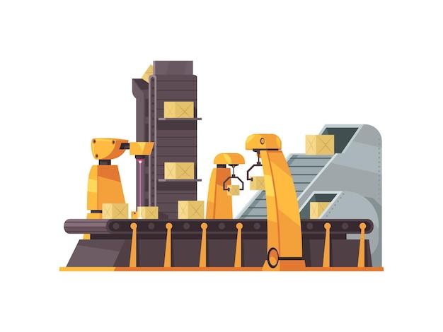 Verpakkingsfabrieksmachine met dozen op transportband b