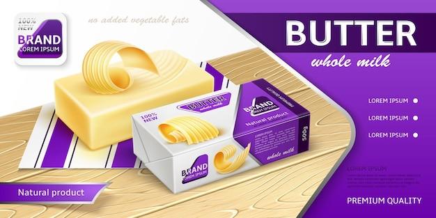 Verpakkingsontwerp voor boter, margarine, smeersel. reclamebanner. realistische vectorillustratie.