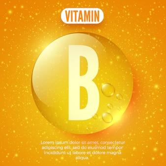 Verpakkingsontwerp voor vitamine b-complex glanzende gouden ronde druppel vectorillustratie