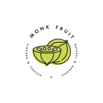 Verpakkingssjabloon logo en embleem - monnik fruit. logo in trendy lineaire stijl.