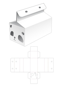 Verpakte doos en lintgat met gestanste sjabloon in de vorm van een panda-gezicht