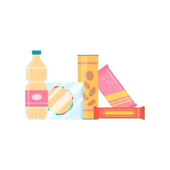 Verpakte supermarkt eten en drinken stapel, platte vectorillustratie geïsoleerd op een witte ondergrond