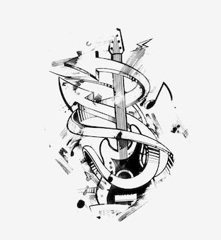 Verplaats de beat met pijl en gitaar, stiker ontwerp illustratie.