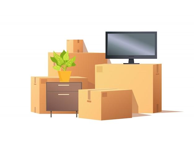Verplaatsen in verhuizing, meubels en dozen