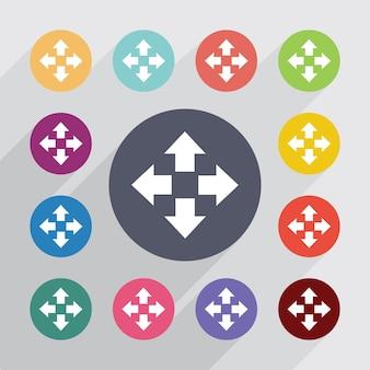 Verplaatsen, plat pictogrammen instellen. ronde kleurrijke knopen. vector Premium Vector