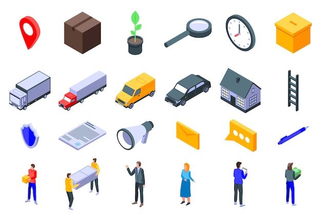 Verplaatsing iconen set, isometrische stijl