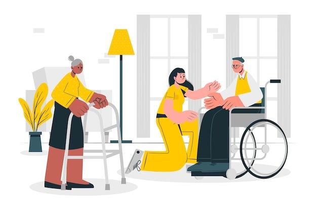 Verpleeghuis concept illustratie