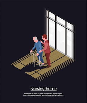 Verpleeghuis isometrisch concept met vrouwelijke persoon die voor bejaarde man zorgen die zich met leurder bewegen