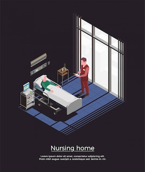 Verpleeghuis isometrische illustratie met persoonlijke bezoekende bejaarde patiënt die in bed ligt
