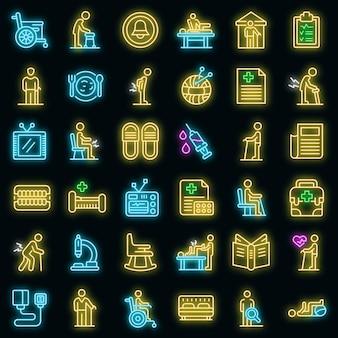 Verpleeghuis pictogrammen instellen. overzicht set van verpleeghuis vector iconen neon kleur op zwart