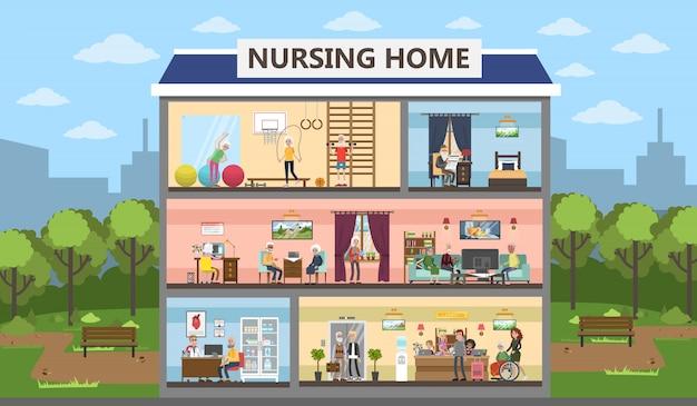 Verpleeghuis stad bouwen interieur met senioren en assistenten.