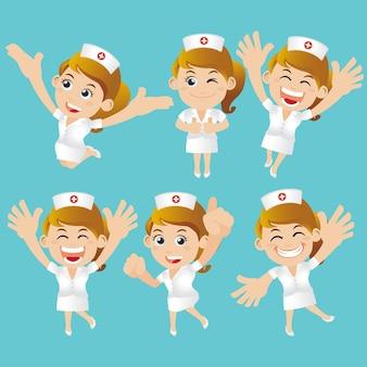 Verpleegkundig personeel in verschillende poses