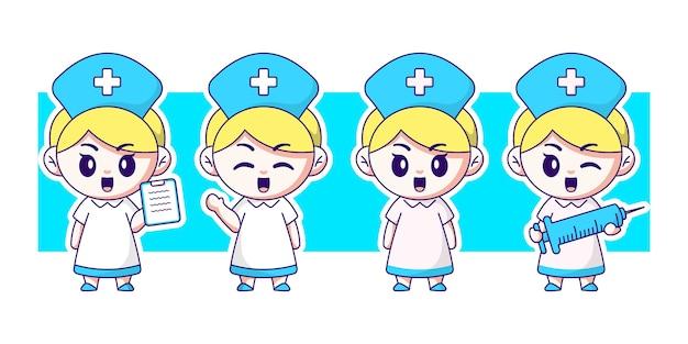 Verpleegkundige bedrijf injectie en lijst tekenset.
