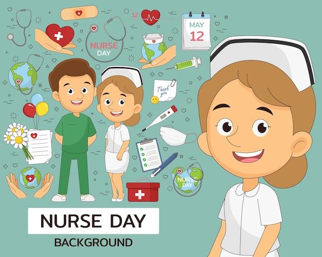 Verpleegkundige dag concept plat pictogrammen