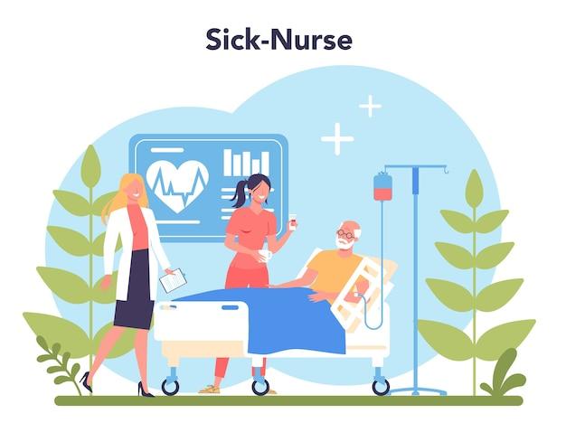 Verpleegkundige dienstverleningsconcept. medisch beroeps-, ziekenhuis- en kliniekpersoneel. professionele hulp voor senior geduld.