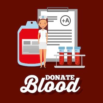 Verpleegkundige medische bloedzak reageerbuis en klembord doneren objecten