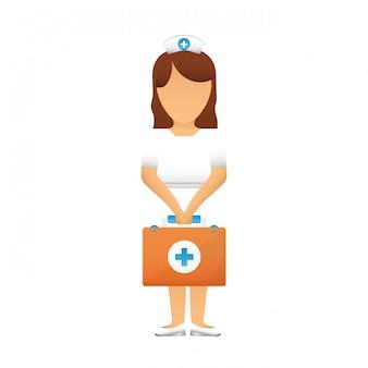 Verpleegkundige met diagnostische producten pictogramafbeelding