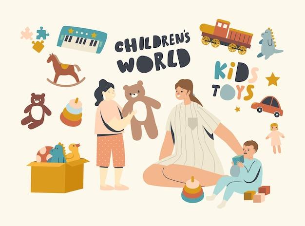 Verpleegkundige of moeder vrouwelijk personage spelen met kleine kinderen in de speelkamer. kinderen spelen met speelgoed in de kleuterschool of thuis, familie vrije tijd, moeder met babyjongen en meisje. lineaire mensen vectorillustratie