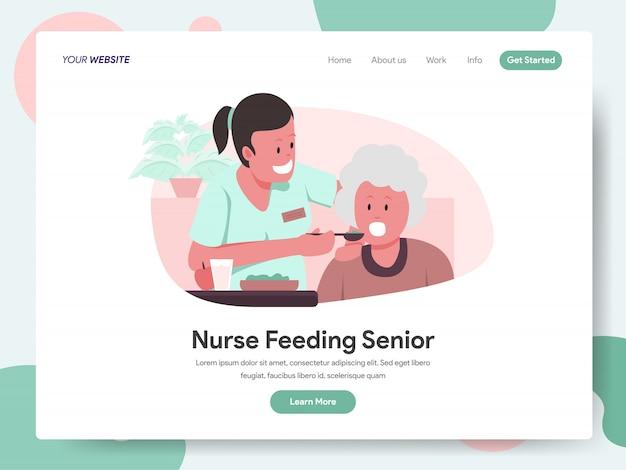 Verpleegkundige of verzorger feeding senior banner voor bestemmingspagina
