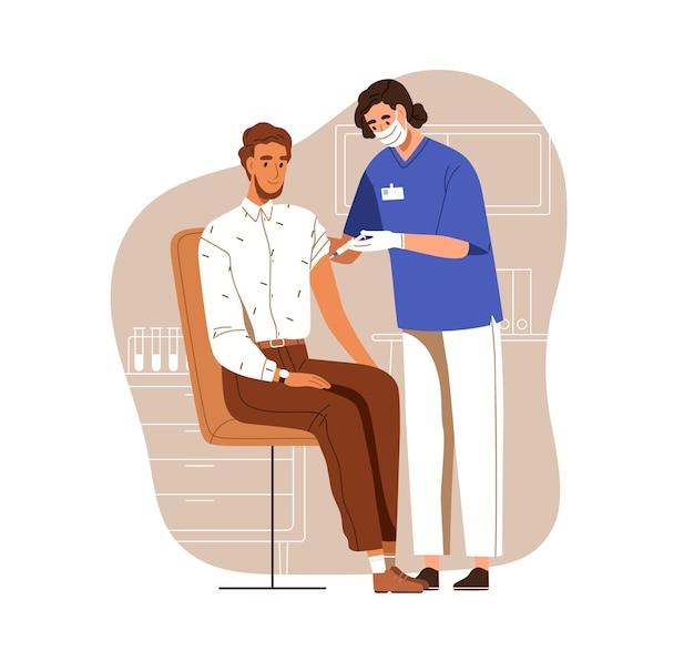 Verpleegkundige vaccineren man met anti-virus vaccin injectie. vaccinatie van volwassen patiënt voor covid-preventie. gekleurde platte vectorillustratie van man in ziekenhuis geïsoleerd op een witte achtergrond.