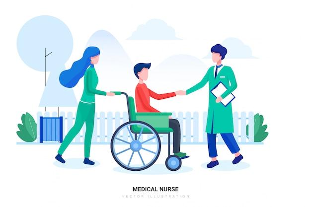 Verpleegkundigen en mannelijke arts met patiënten op rolstoelen