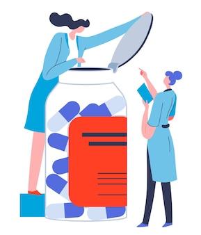 Verpleegkundigen of artsen die recepten geven die pillen uit pot geven. farmaceutische industrie en medische zorg, gezondheidszorg en welzijnsonderhoud. wetenschappers die experimenten uitvoeren, vector in flat