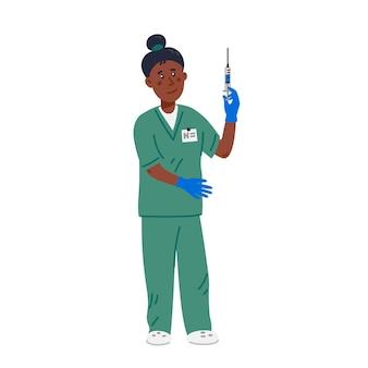 Verpleegster - afro-amerikaanse verpleegster in groene scrubs met spuit