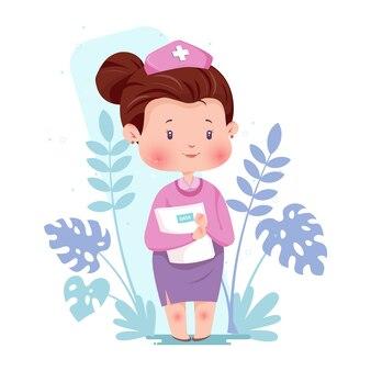 Verpleegster character concept illustration met coronavirusgezondheidszorg