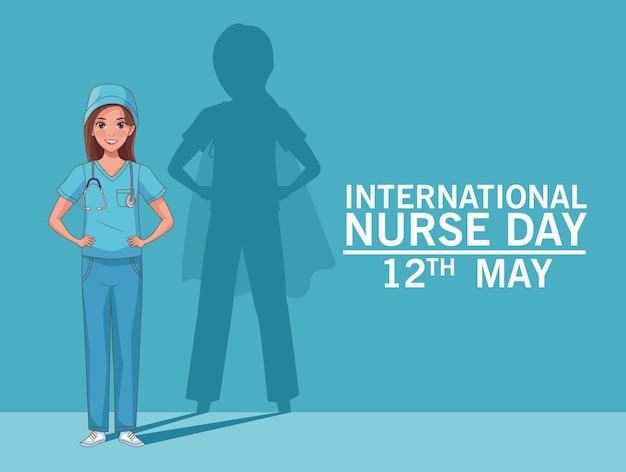 Verpleegster dag vieren held silhouet