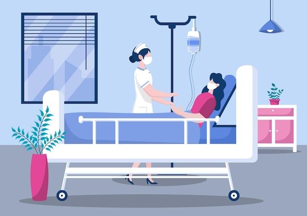 Verpleegster die met een patiënt helpt