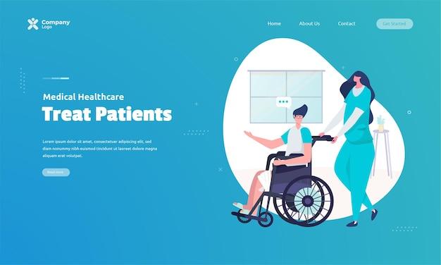 Verpleegster die patiënt in rolstoelillustratie duwt bij het concept van de bestemmingspagina