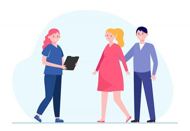 Verpleegster die zwangere vrouw raadpleegt