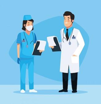 Verpleegster en dokter avatars karakters