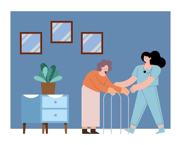 Verpleegster en oude vrouw met rollator