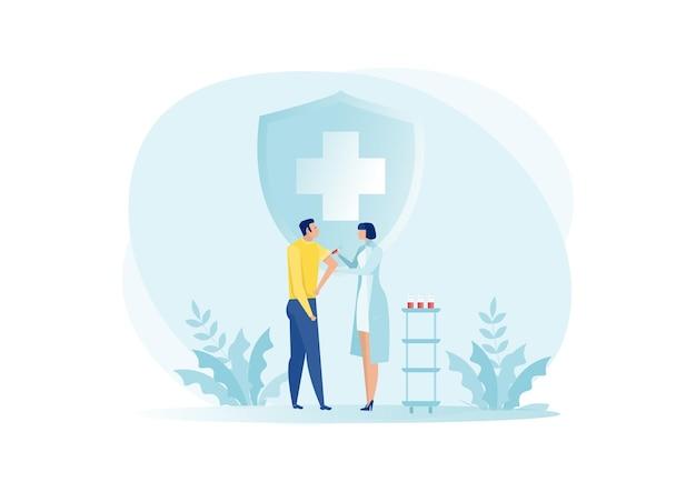 Verpleegster geeft een vaccin voor een man ter bescherming van het coronavirus covid-19-illustratie