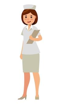 Verpleegster karakter in vlakke stijl vectorillustratie