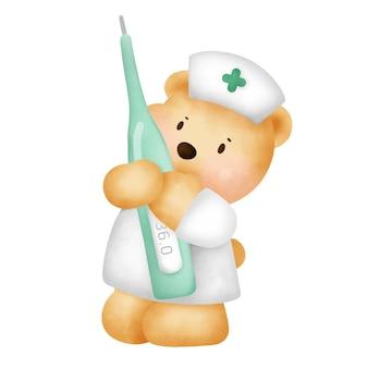 Verpleegster karakter met een temperatuurmeter.